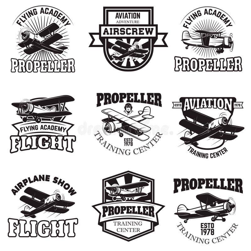 Ensemble de l'Armée de l'Air, exposition d'avion, emblèmes volants d'académie cru illustration de vecteur
