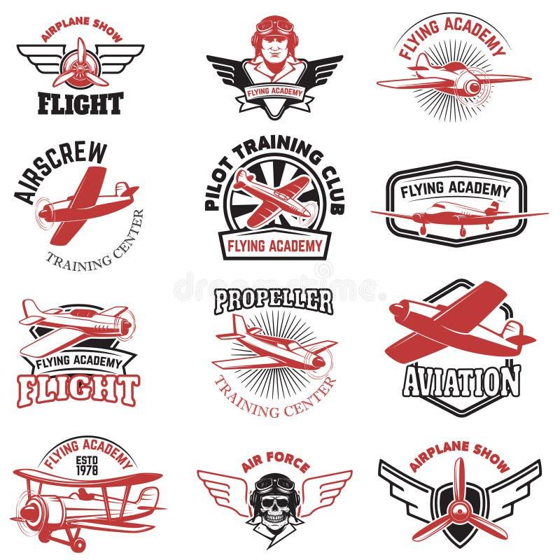 Ensemble de l'Armée de l'Air, exposition d'avion, emblèmes volants d'académie cru illustration stock