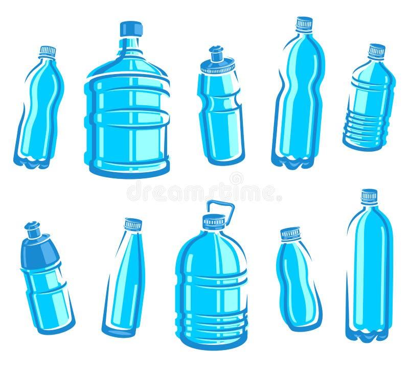 Ensemble de l'eau de bouteilles. Vecteur illustration libre de droits