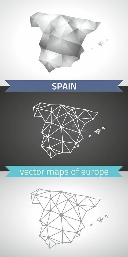 Ensemble de l'Espagne de gris et de cartes polygonales de la mosaïque 3d d'argent illustration de vecteur
