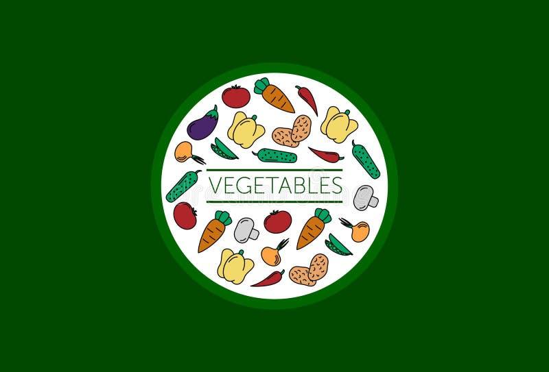 Ensemble de l?gumes abr?gez le fond placez des légumes d'icônes de vecteur tomate, concombre, carotte, poivrons, aubergine, pois, illustration libre de droits
