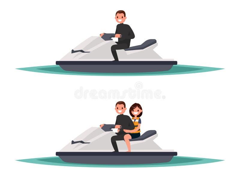 Download Ensemble De L'homme Sur Le Ski Un De Jet Et Avec La Femme Illustrati De Vecteur Illustration Stock - Illustration du activité, adrénaline: 76079472
