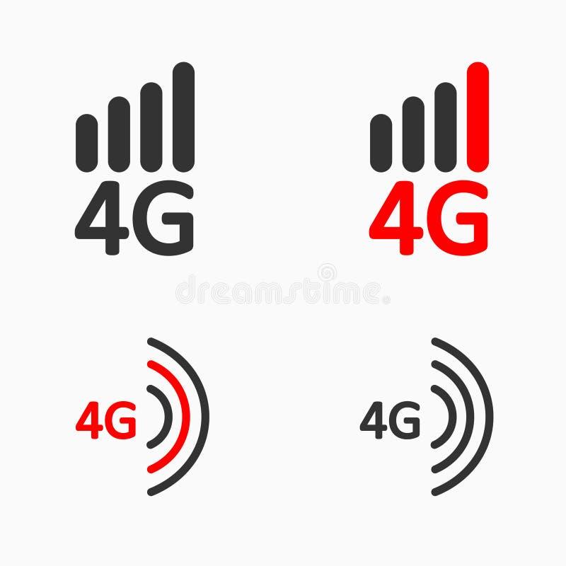 ensemble de l'icône 4g, icône mobile ultra-rapide simple d'Internet illustration stock