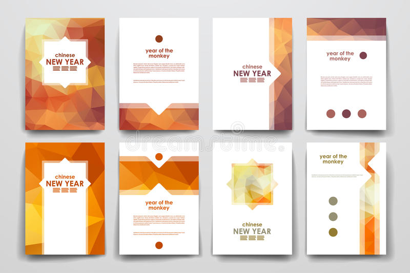 Ensemble de la brochure, calibres de conception d'affiche dans le style chinois de nouvelle année illustration libre de droits
