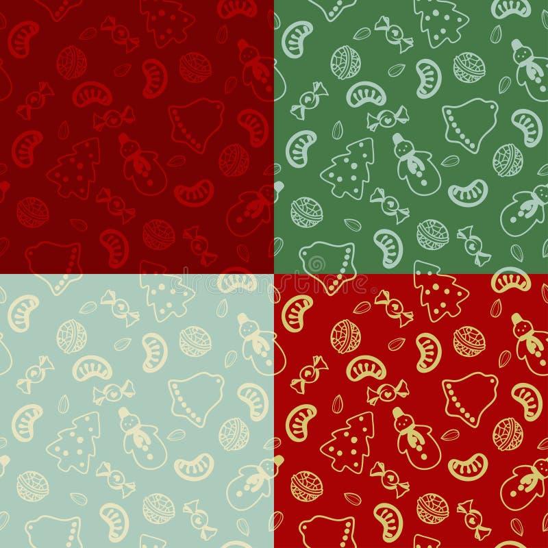 Ensemble de la configuration quatre sans joint avec la nourriture de Noël illustration libre de droits