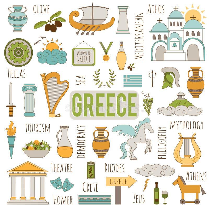 Ensemble de la Grèce d'éléments illustration stock