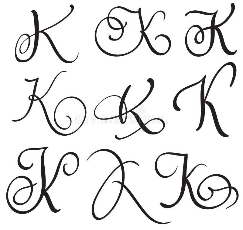 lettre k calligraphie Ensemble De La Lettre K De Calligraphie D'art Avec Le Flourish Des  lettre k calligraphie