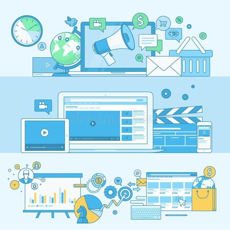 Ensemble de la ligne bannières de concept pour le marketing numérique illustration de vecteur