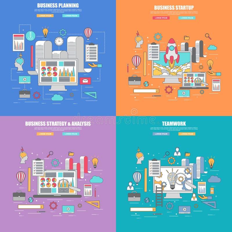 Ensemble 4 de la ligne mince concept de construction plat pour la planification des affaires, la stratégie et l'analyse illustration libre de droits