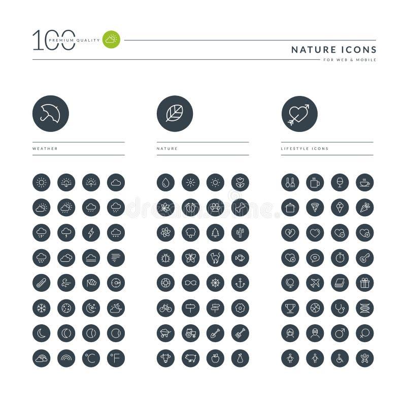 Ensemble de la ligne mince icônes de Web pour la nature et le mode de vie illustration libre de droits