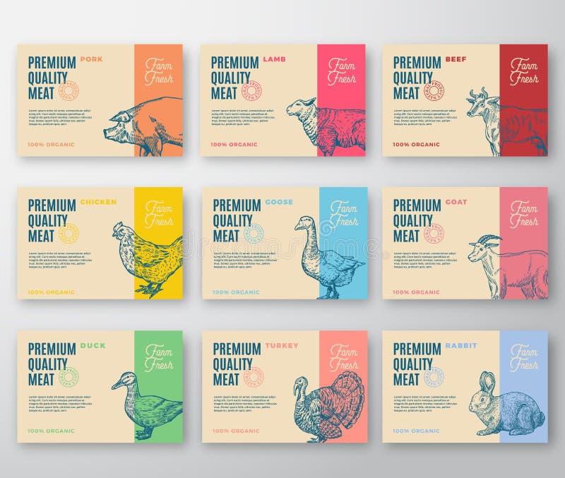 Ensemble de la meilleure qualité de labels de viande et de volaille de qualité plus grand Le vecteur abstrait marque la conceptio illustration stock