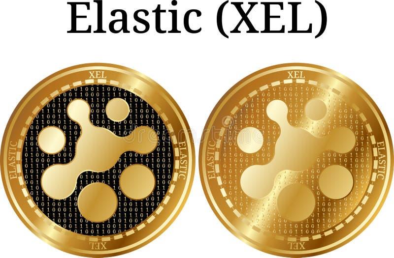 Ensemble de la pièce de monnaie d'or physique XEL élastique illustration stock