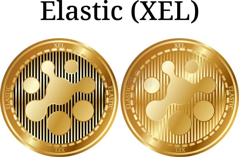Ensemble de la pièce de monnaie d'or physique XEL élastique illustration de vecteur