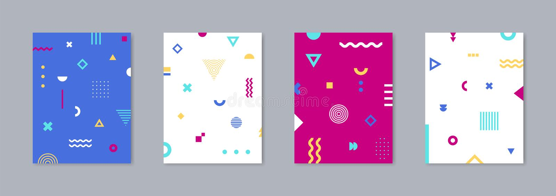 Ensemble de la plaquette 4 avec le dessin géométrique à la mode Calibre de vecteur pour des couvertures illustration libre de droits
