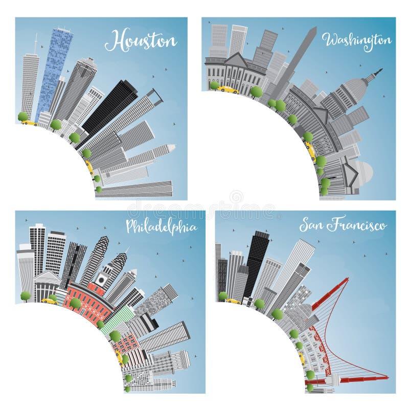 Ensemble de la ville 4 aux Etats-Unis Houston, Washington DC, Philadelphie, San illustration de vecteur