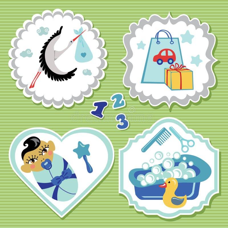 Ensemble de label avec des articles pour le bébé garçon nouveau-né asiatique illustration stock