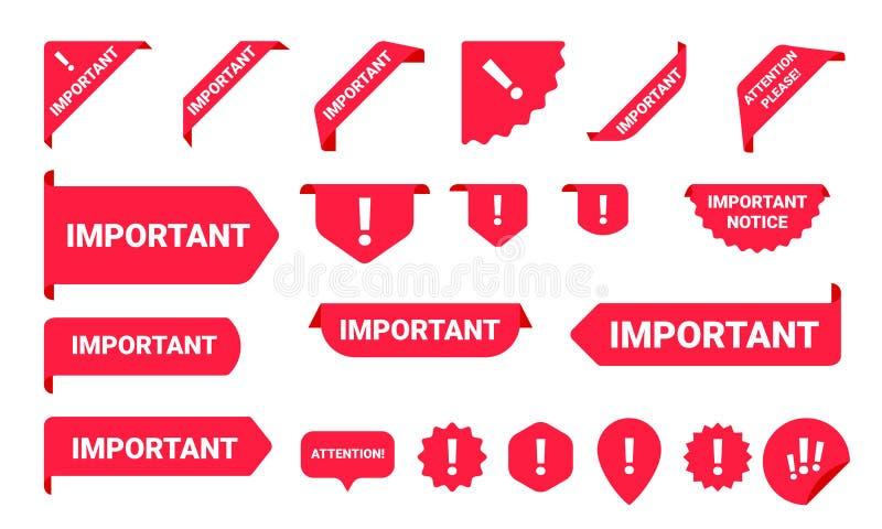 Ensemble de label de bannière de l'information d'avis important illustration de vecteur
