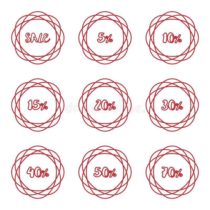 Ensemble de label circulaire d'insigne d'autocollant de pourcentage de vente illustration de vecteur