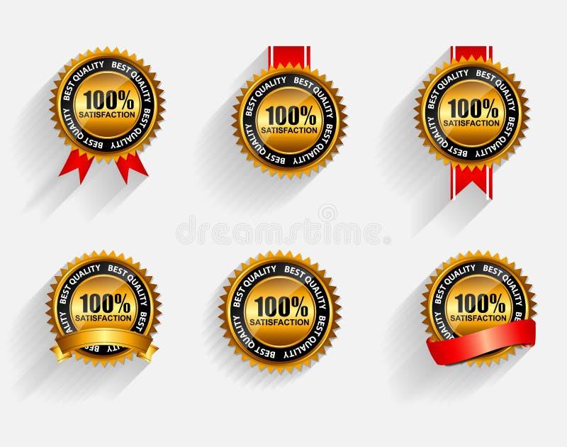 Ensemble 100% de label d'or de satisfaction de vecteur avec le rouge illustration de vecteur