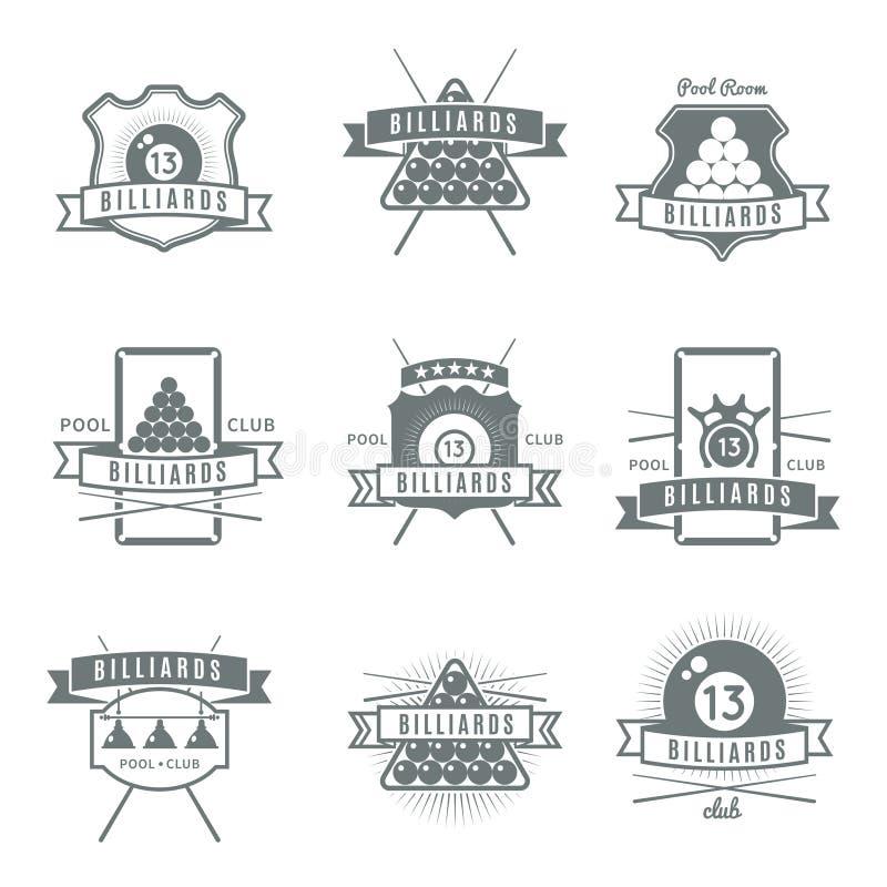Ensemble de label de billards illustration stock