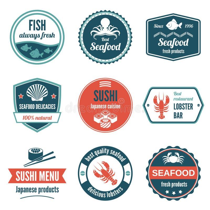 Ensemble de label de fruits de mer illustration de vecteur