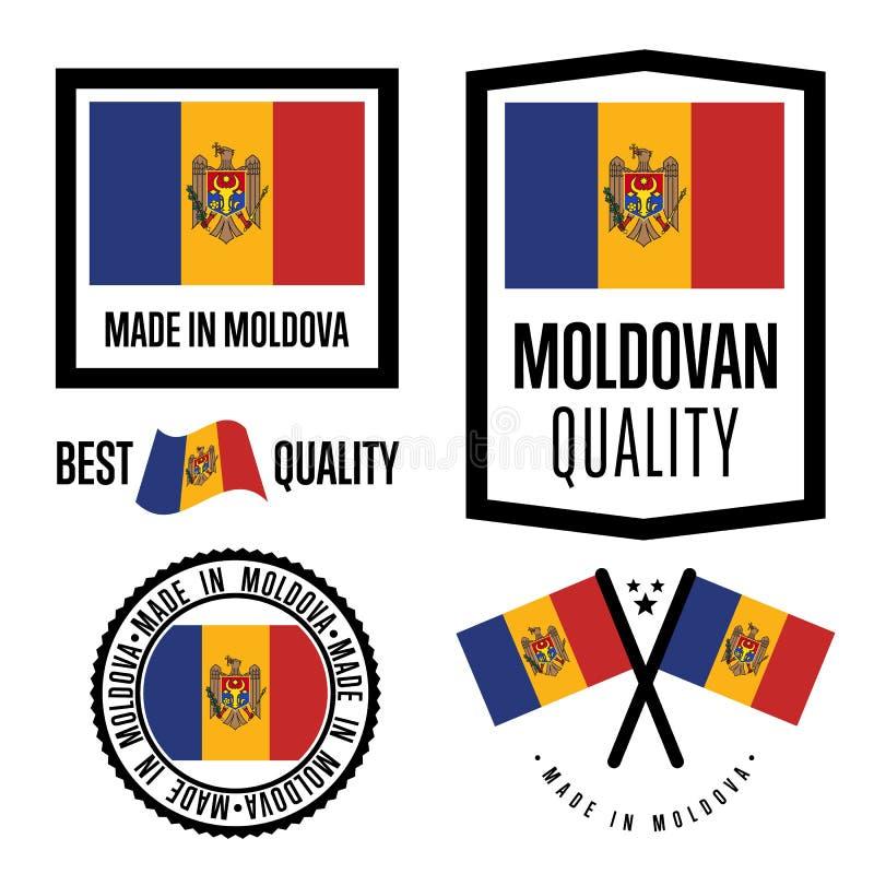 Ensemble de label de qualité de Moldau pour des marchandises illustration libre de droits