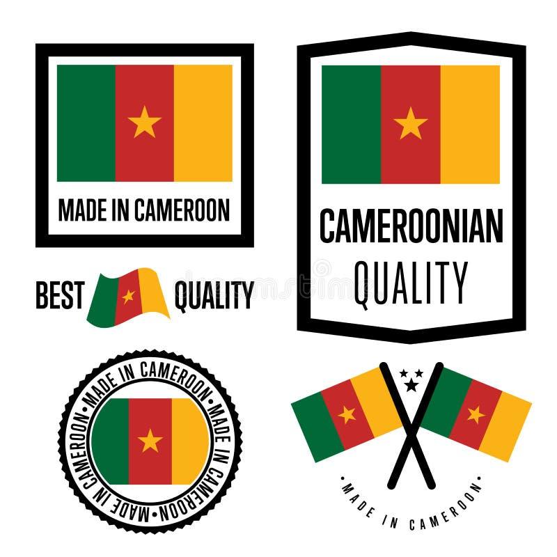 Ensemble de label de qualité du Cameroun pour des marchandises illustration de vecteur