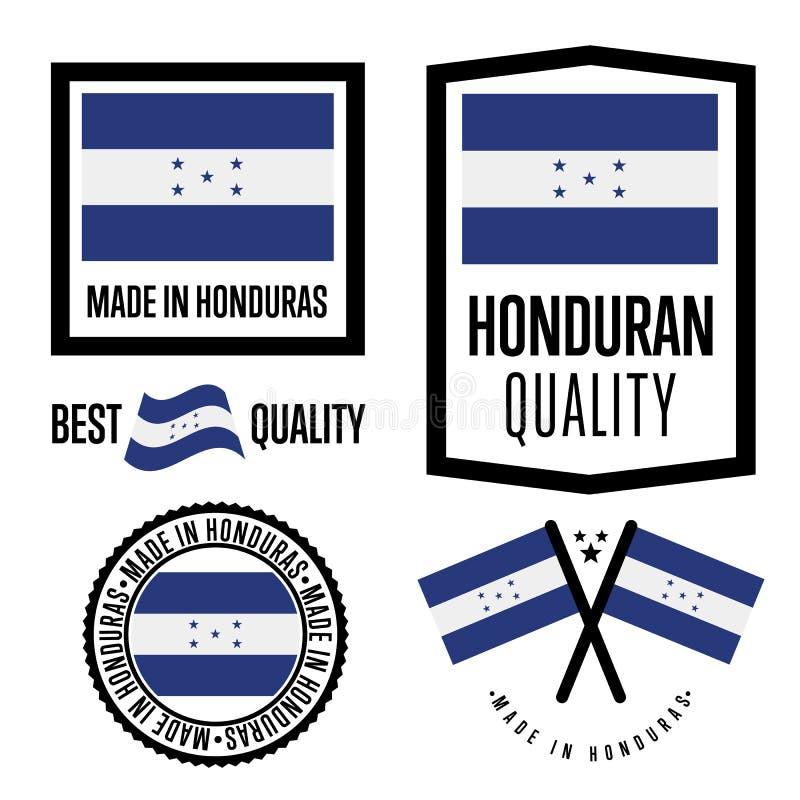 Ensemble de label de qualité du Honduras pour des marchandises illustration stock