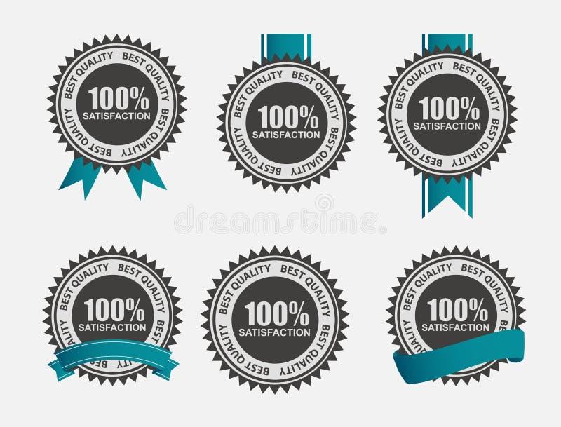 Ensemble 100% de label de satisfaction de vecteur rétro avec illustration libre de droits