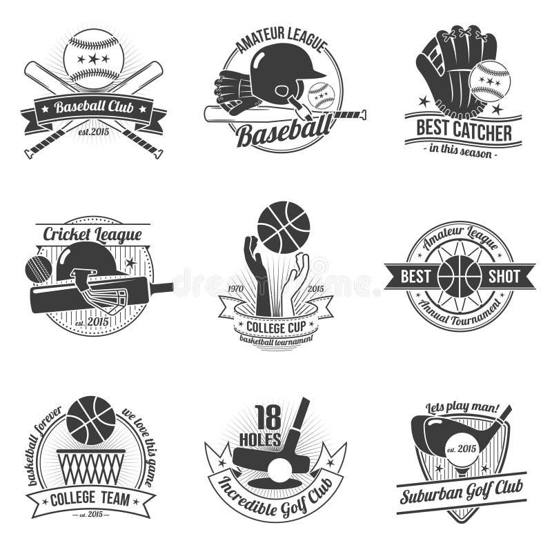 Ensemble de label de sport illustration stock
