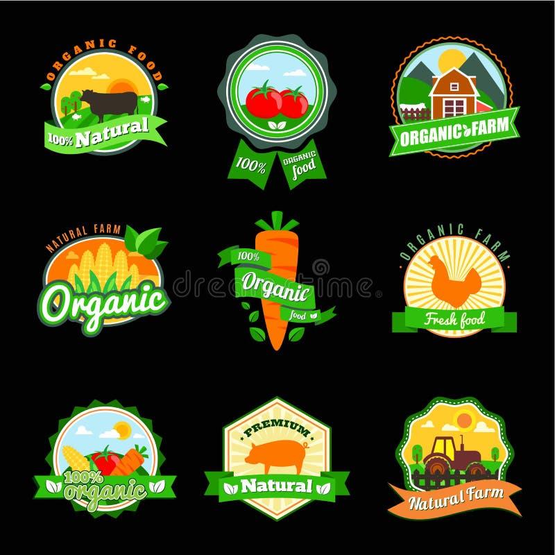 Ensemble de label de Stevia et d'aliment biologique Label de ferme et élément frais de logo illustration stock