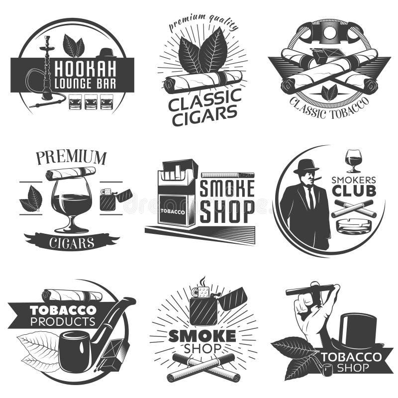 Ensemble de label de tabagisme de tabac illustration stock