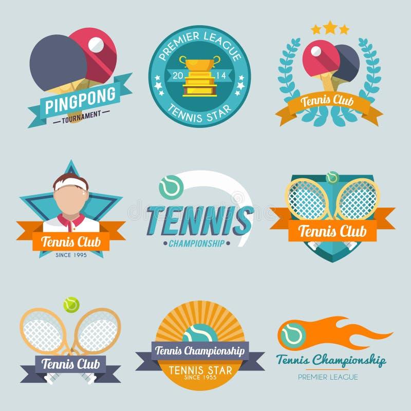 Ensemble de label de tennis illustration stock