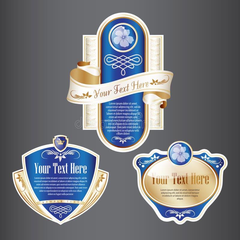 Ensemble de label fleuri de bleu et d'or illustration stock