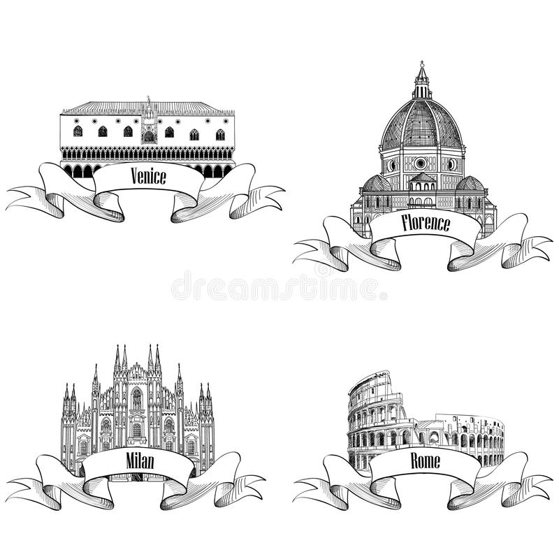 Ensemble de label italien célèbre de ville : Rome, Milan, Venise, Florence La illustration libre de droits