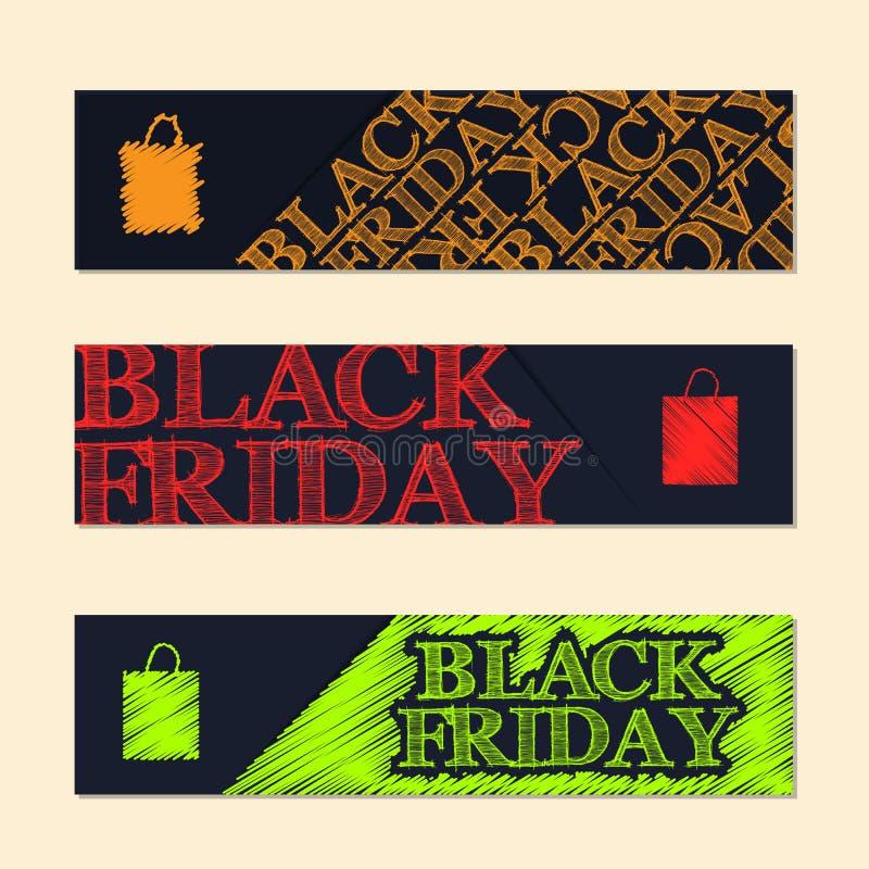 Ensemble de label noir de vendredi avec les éléments griffonnés illustration de vecteur