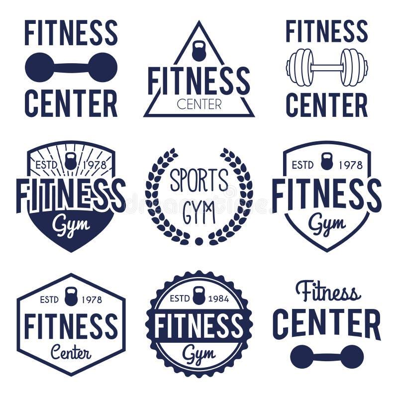 Ensemble de label orienté d'insigne de hippie typographique de forme physique et de gymnase avec le poids photos libres de droits