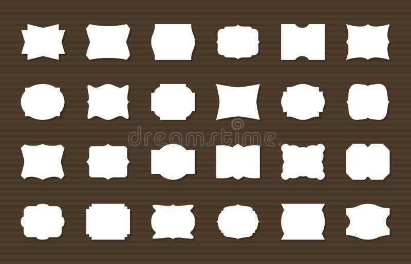 Ensemble de label de vue Le blanc encadre des formes décoratives, rétros labels Décoration élégante d'autocollant, étiquettes de  illustration stock