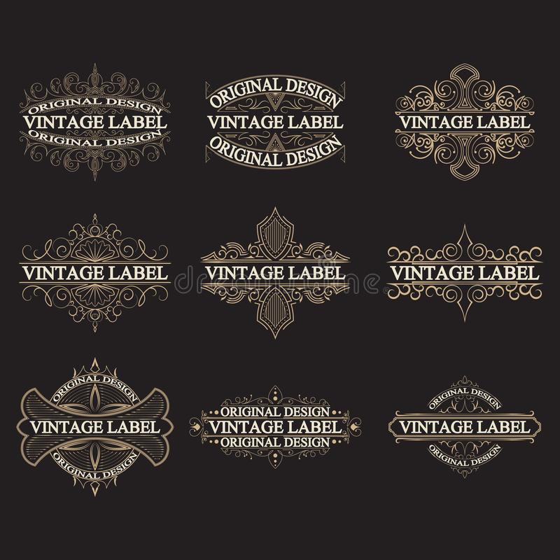 Ensemble de labels antiques, logos de vintage illustration stock