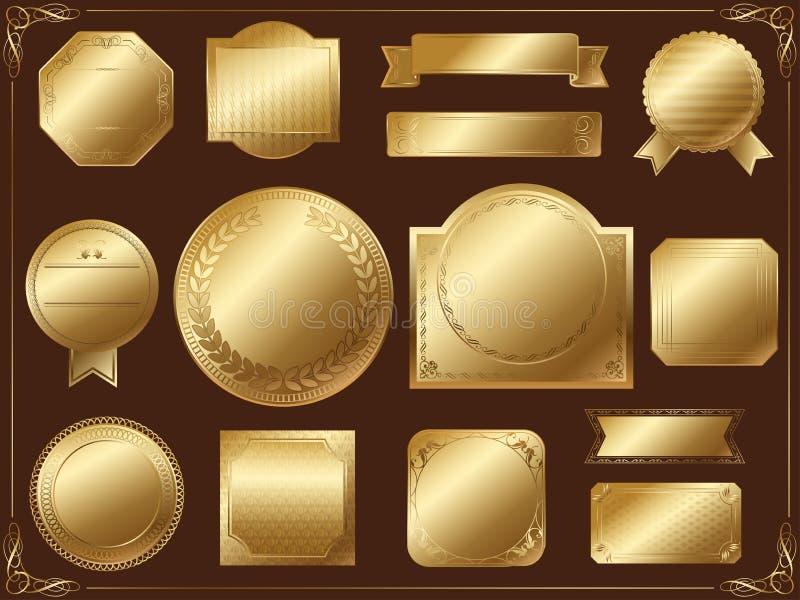 Ensemble de labels assortis d'or sur un fond noir, vecteur sans échantillon des textes photographie stock