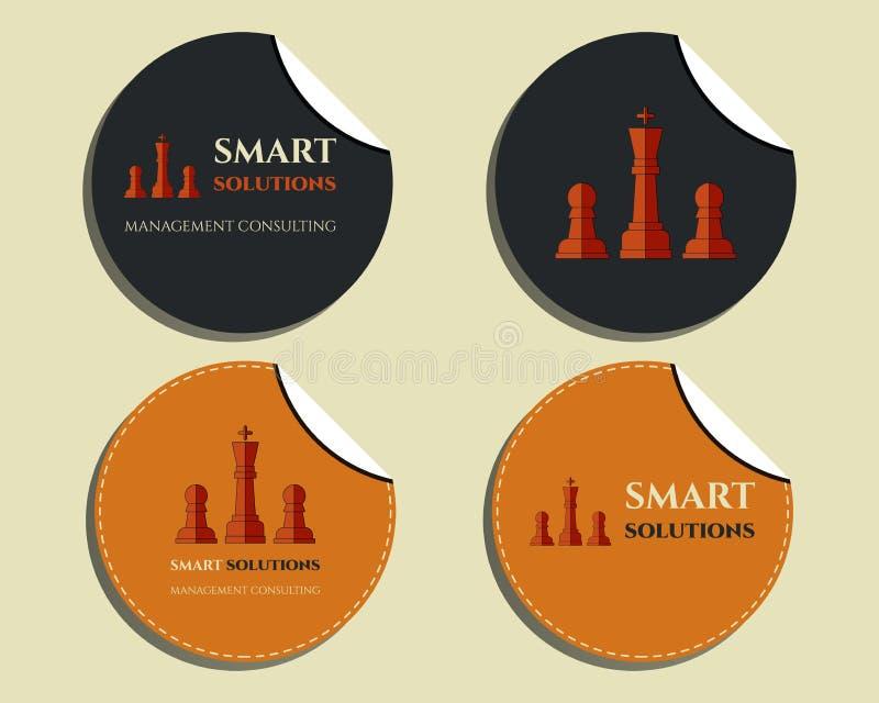 Ensemble de labels - autocollants Solutions de Smart d'échecs illustration libre de droits