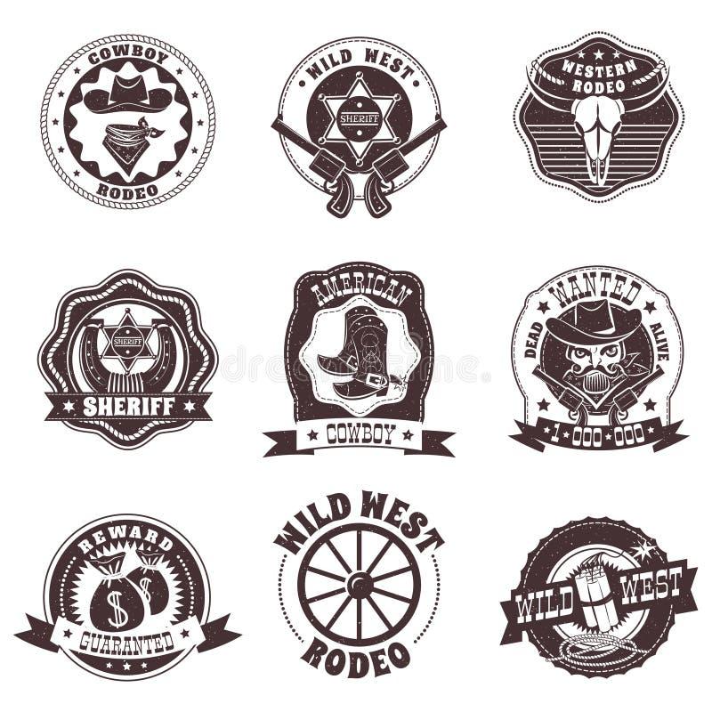 Ensemble de labels blanc noir occidental sauvage illustration stock