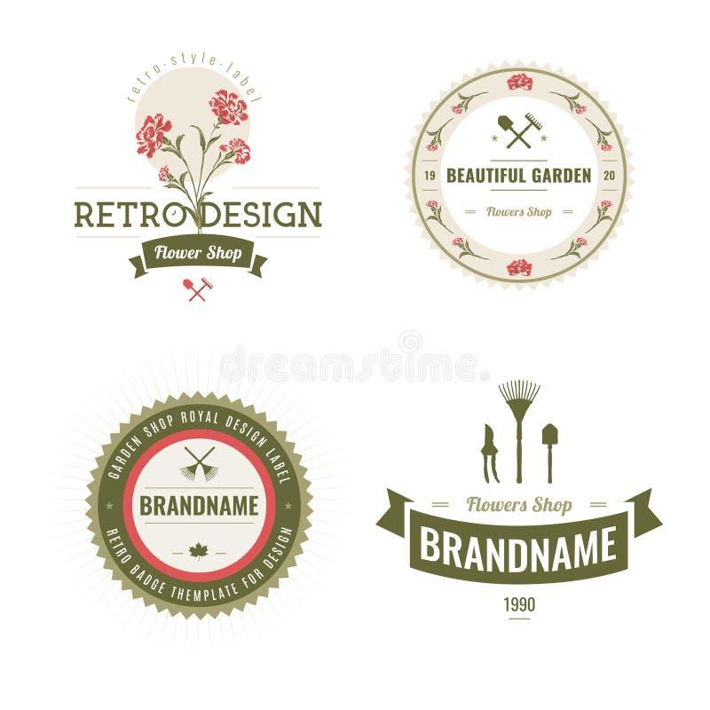 Ensemble de labels de boutique de fleurs et d'éléments de conception illustration libre de droits