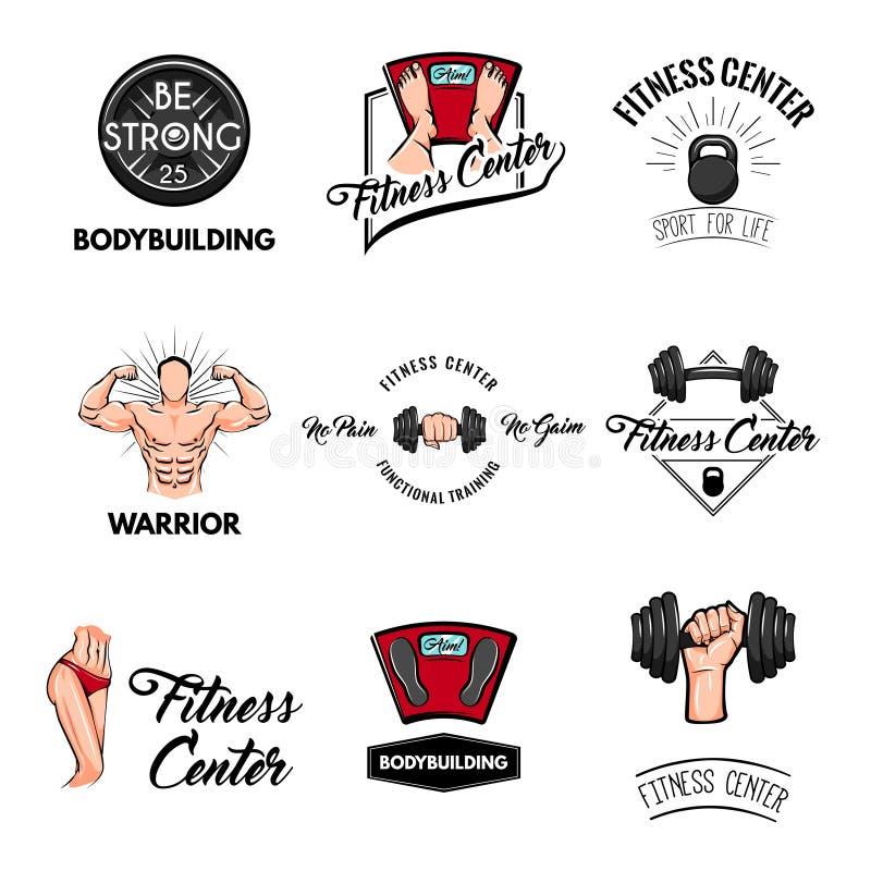 Ensemble de labels de centre de fitness Barbell, Kettlebell, Bodybuilder, corps sportif, échelle de plancher Outils de sport Équi illustration stock