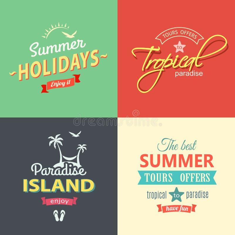 Ensemble de labels coloré de plage illustration stock