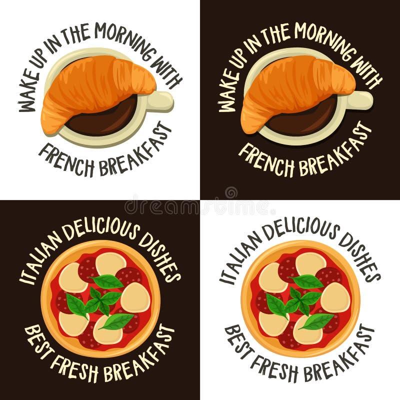 Ensemble de labels colorés avec le petit déjeuner français et italien illustration de vecteur
