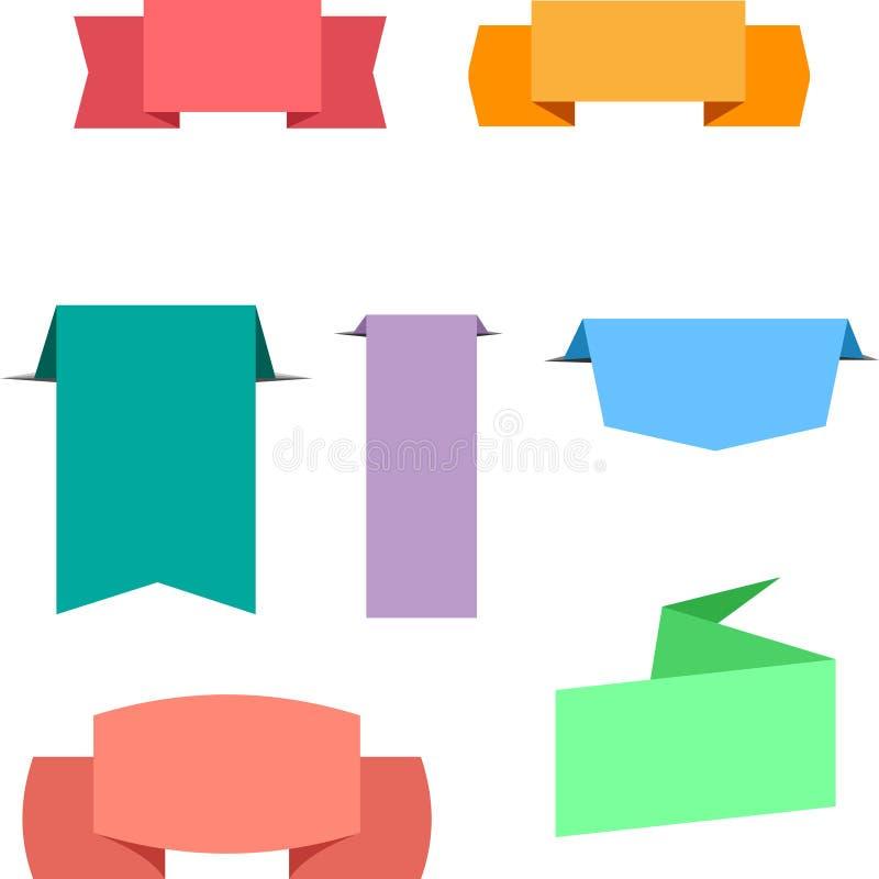 Ensemble de labels colorés d'isolement sur le blanc illustration stock