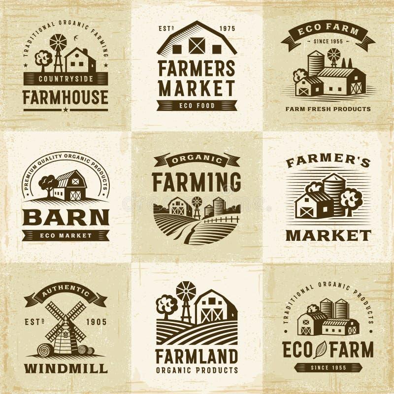 Ensemble de labels d'agriculture biologique de vintage illustration stock