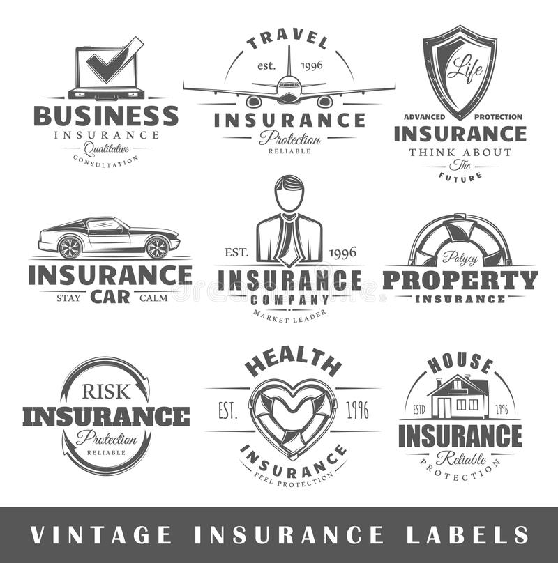 Ensemble de labels d'assurance de vintage illustration stock