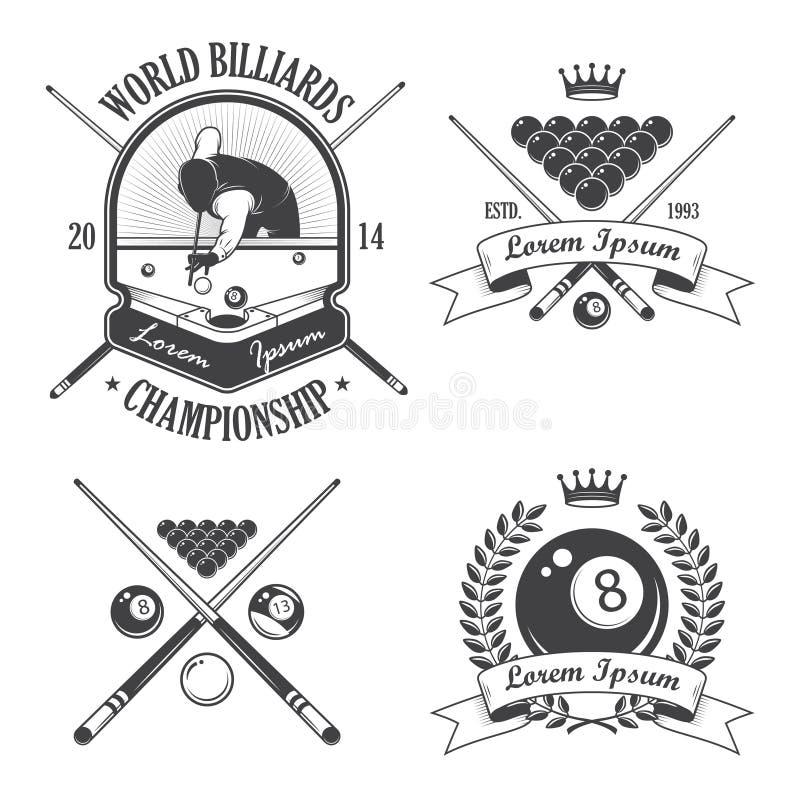 Ensemble de labels d'emblèmes de billards illustration stock
